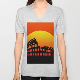 Sunset and colosseum in a red sky Unisex V-Neck