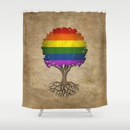 Vintage Tree of Life with Gay Pride Rainbow Flag Shower Curtain