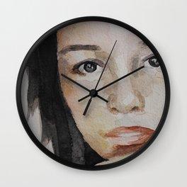 Watercolor painting, portrait beautiful girl Wall Clock