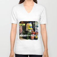 discount V-neck T-shirts featuring Giant Mayonnaise Jar  by Ethna Gillespie