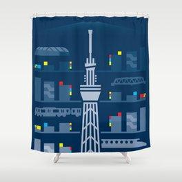 Tokyo Skytree Shower Curtain
