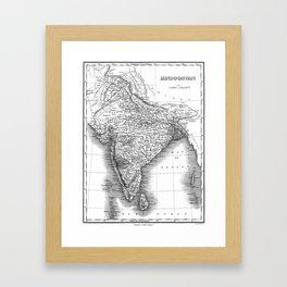 Vintage Map of India (1831) BW Framed Art Print