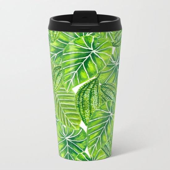 Watercolor tropical leaves pattern design Metal Travel Mug