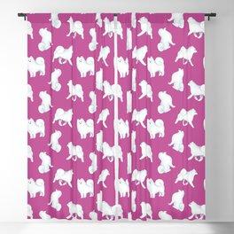 Samoyed Pattern (Berry Background) Blackout Curtain