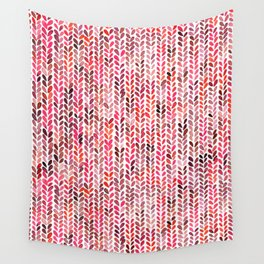 Knitting Watercolor Texture Red Wall Tapestry