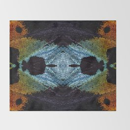 Mirrored Madagascan Sunset Moth Iridescence Throw Blanket