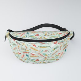 Fishing Lures Light Blue Fanny Pack