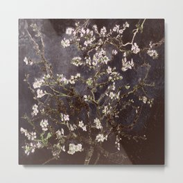 Vincent Van Gogh Almond Blossoms dark gray slate Metal Print