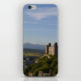 Harlech Castle and the Snowdonia mountains iPhone Skin