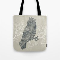 king Tote Bags featuring Owl King by Rachel Caldwell