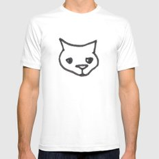 Concerned Cat Mens Fitted Tee White MEDIUM