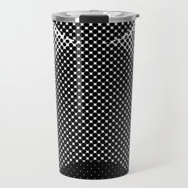 Shadows, mountains, a big eye, all made out of small dots. Black and white. Travel Mug