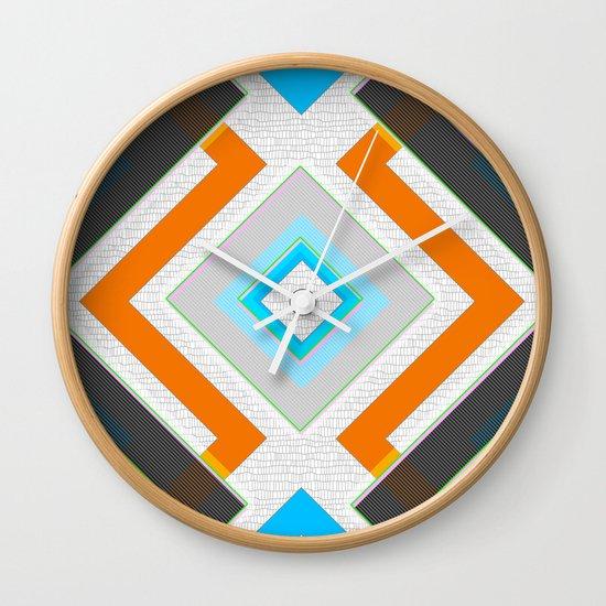 Home Goods Clocks: Gray Blue Orange And White Small Diamond Textured Minimal