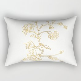 Golden flower on white background . artwork . Rectangular Pillow