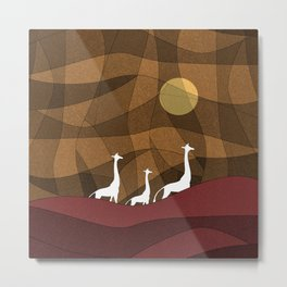 Beautiful warm giraffe family design Metal Print