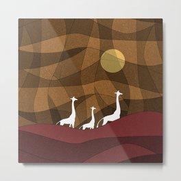 Beautiful warm giraffe family design Metal Print
