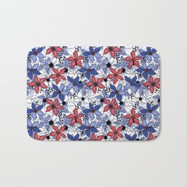 Brown and blue colors flowers Bath Mat
