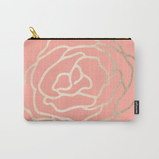 Flower in White Gold Sands on Salmon Pink Carry-All Pouch