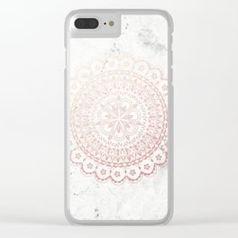 Rose gold mandala and grey marble Clear iPhone Case