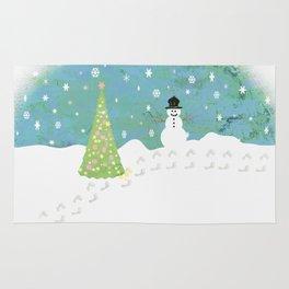 Snowman on Christmas Day Rug