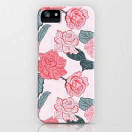 Roses and leaves iPhone Case