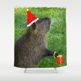 just for fun - a nutria santa ??? Shower Curtain