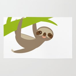 funny and cute smiling Three-toed sloth on green branch Rug