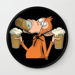 Funny monkey drinks Wall Clock
