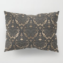 Persian Oriental Pattern - Black Leather and gold Pillow Sham