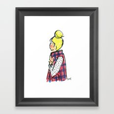 Top Knot. Buffalo Plaid Vest. Framed Art Print