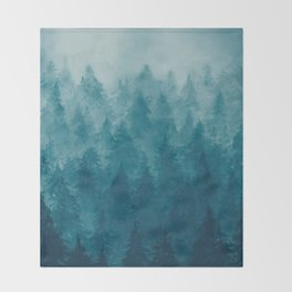 Misty Pine Forest Throw Blanket