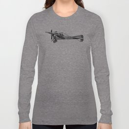 Old Airplane Sideview Detailed Illustration Long Sleeve T-shirt