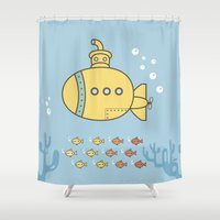yellow submarine Shower Curtains featuring Yellow Submarine by Brenda Figueroa Illustration