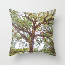 New Orleans French Quarter Green Mosaic Iconic Nola Oak Tree in Colorful Botanical Louisiana Nature Throw Pillow