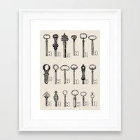 black keys Framed Art Prints featuring Usb Keys by Florent Bodart / Speakerine
