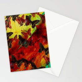 Butterflies Abstract mixed media digital art collage Stationery Cards