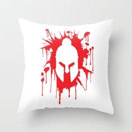 Spartan Helmet in Bloodstain | Warrior Workout Throw Pillow