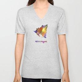 Nicaragua in watercolor Unisex V-Neck