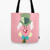 mad hatter Tote Bags featuring Mad hatter by Maria Jose Da Luz