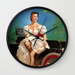 Pin Up Girl and Antique Car Wall Clock