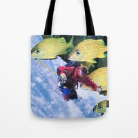 skiing Tote Bags featuring Water Skiing by John Turck
