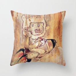 Bunny Rocket Throw Pillow