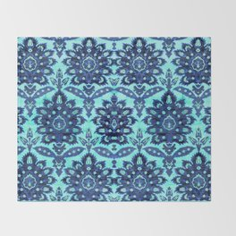 Floral Fabric Vintage Gift Pattern Blue Throw Blanket
