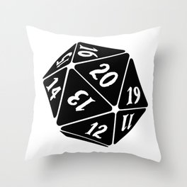 20 Sided Spindown Die - White & Black Throw Pillow