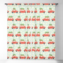 Vintage Christmas trees on car roof blue Blackout Curtain