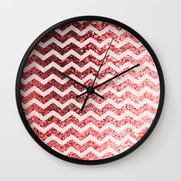 Glitter Sparkly Bling Chevron Pattern (red) Wall Clock