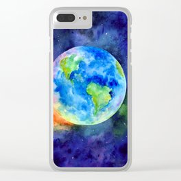 Watercolor painting of Earth Clear iPhone Case