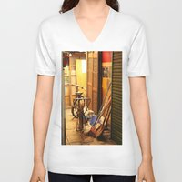 bicycles V-neck T-shirts featuring Bicycles, light by lonewombatking
