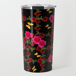 BLACK PINK ROSE & YELLOW BUTTERFLIES GARDEN ART Travel Mug