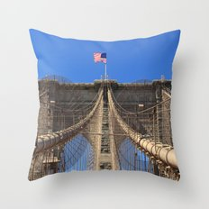 Stars and Stripes over Brooklyn Bridge, Manhattan, New York, U.S.A. Throw Pillow